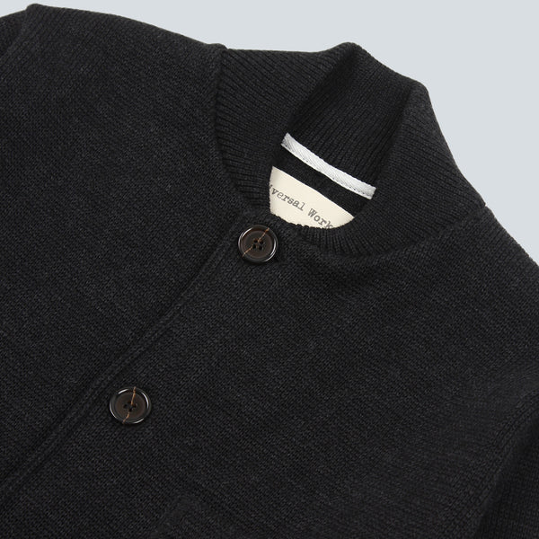 UNIVERSAL WORKS-KNIT WORK JACKET-CHARCOAL