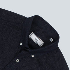 AMI-WOVEN BUTTON DOWN SHIRT-INDIGO