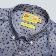 SUNNY BELL STUDIOS - OXFORD SHIRT - NAVY BIRD PRINT