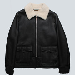 GANT RUGGER-SHEARLING AVIATOR JACKET- BLACK