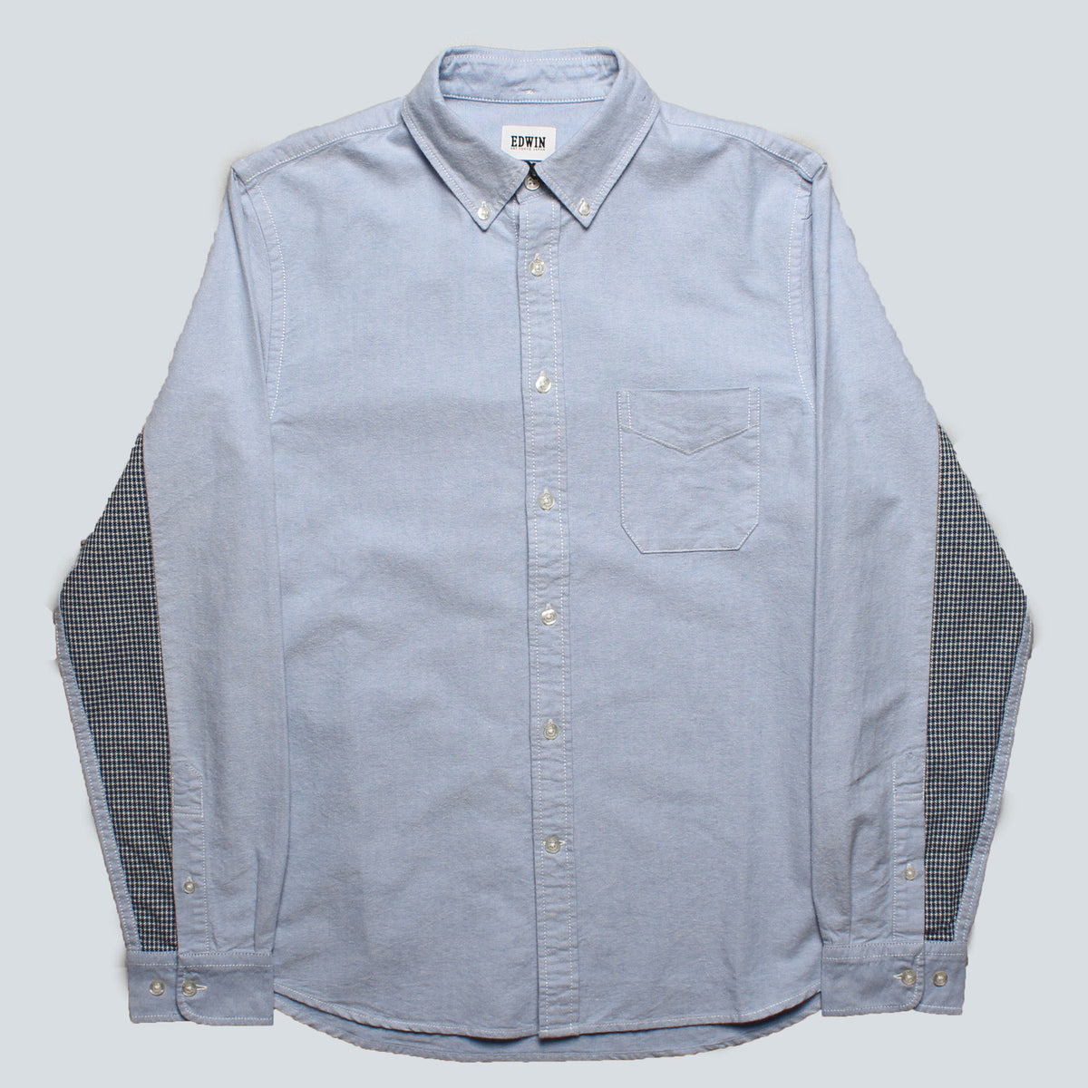 EDWIN - COTTON OXFORD SHIRT - BLUE/MOCK INDIGO