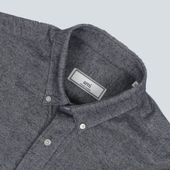 AMI-WOVEN FLANNEL SHIRT-GRAY