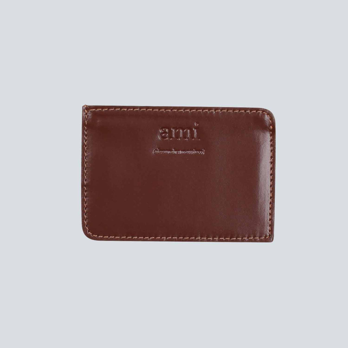 AMI - Smooth Leather Card Holder - Cognac