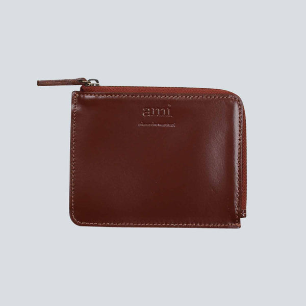 AMI - Smooth Leather Wallet - Cognac