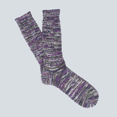 ANONYMOUS ISM-COLOUR MIX SOCKS-PURPLE/OLIVE