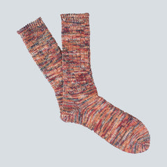 ANONYMOUS ISM-COLOUR MIX SOCKS-WINE/GREEN
