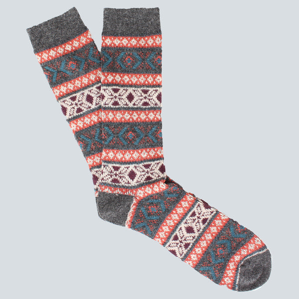 ANONYMOUS ISM-PATTERN SOCKS-CHARCOAL
