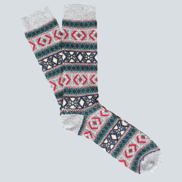 ANONYMOUS ISM-PATTERN SOCKS-GREY