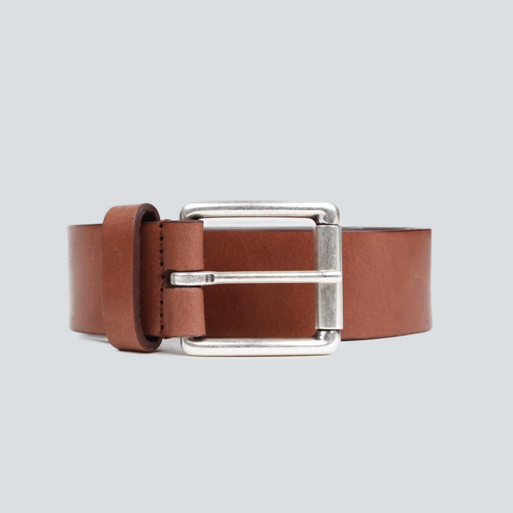 ANDERSON'S CALF LEATHER BELT - DARK TAN