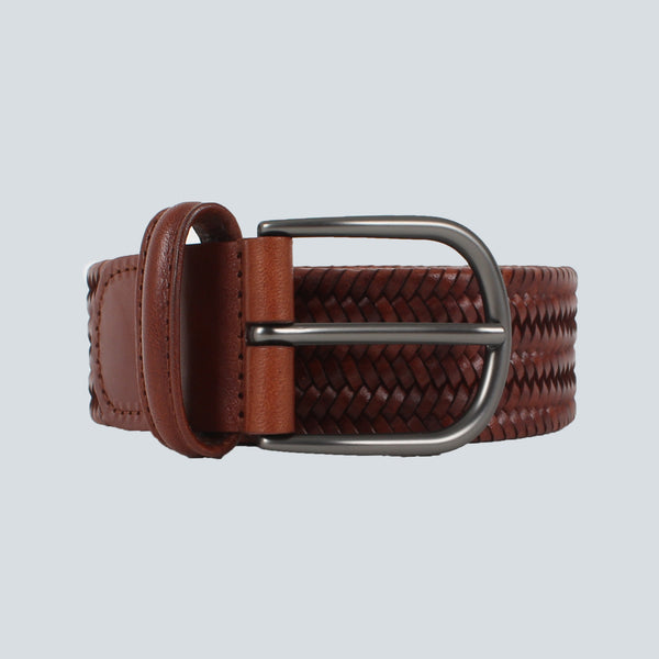 ANDERSONS - WOVEN LEATHER BELT - BROWN