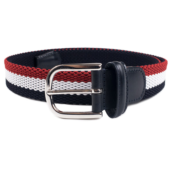 ANDERSON'S - WOVEN TEXTILE BELT STRIPED - NAVY / WHITE / RED