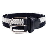 ANDERSON'S - WOVEN TEXTILE BELT STRIPED - BLACK / WHITE