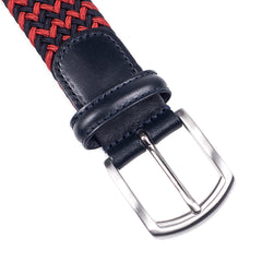 ANDERSON'S - WOVEN TEXTILE BELT - RED / NAVY