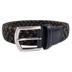 ANDERSON'S - WOVEN TEXTILE BELT - BROWN/NAVY/GREEN