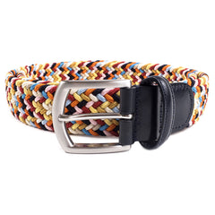 ANDERSONS - WOVEN TEXTILE BELT - ORANGE / BLUE / PINK