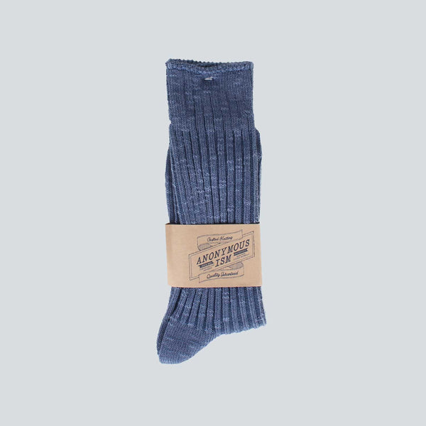 Anonymous Ism Ribbed Socks - Ocean Navy