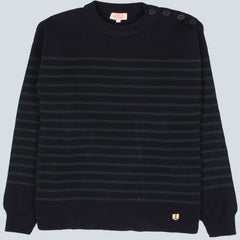 Armor-Lux 1/2 Stripe Knit - Rich Navy/Tige