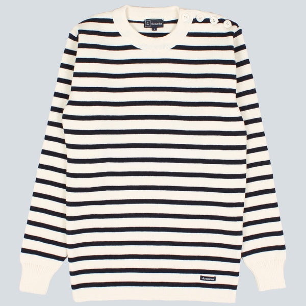 Armor-Lux Full Stripe Knit - Nature/Navy