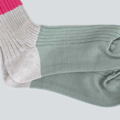 Ayame Three Color Panelled Socks - Pink