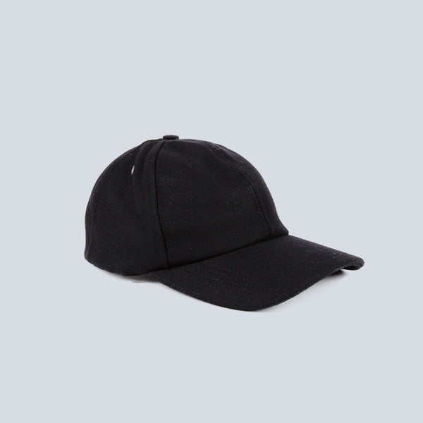 AMI-WOOL CLOTH WOVEN CAP-BLACK
