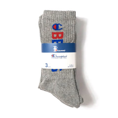 CHAMPION - BEAMS CREW SOCKS 3 PACK - GREY