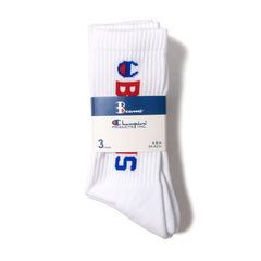 CHAMPION - BEAMS CREW SOCKS 3 PACK - WHITE