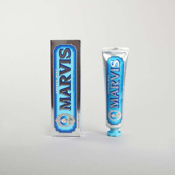 aquatic mint marvis toothpaste - bottle and box