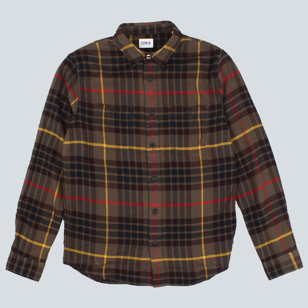 EDWIN - LABOUR CHECK FLANNEL SHIRT - GREEN
