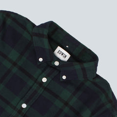 EDWIN - STANDARD LIGHT FLANNEL TARTAN SHIRT - BLACK