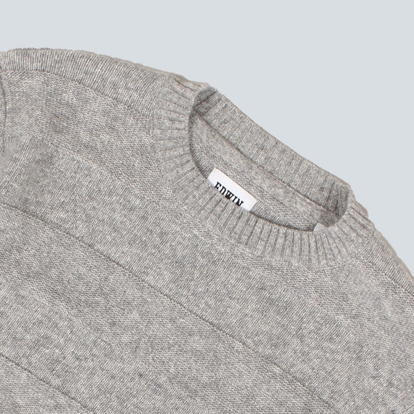 EDWIN - STANDARD STRIPED LAMBSWOOL SWEATER - GREY MARL