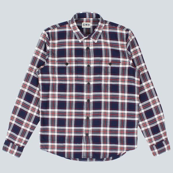 Edwin - Labour Shirt Herringbone seesucker Y/D - Blue Garment Washed
