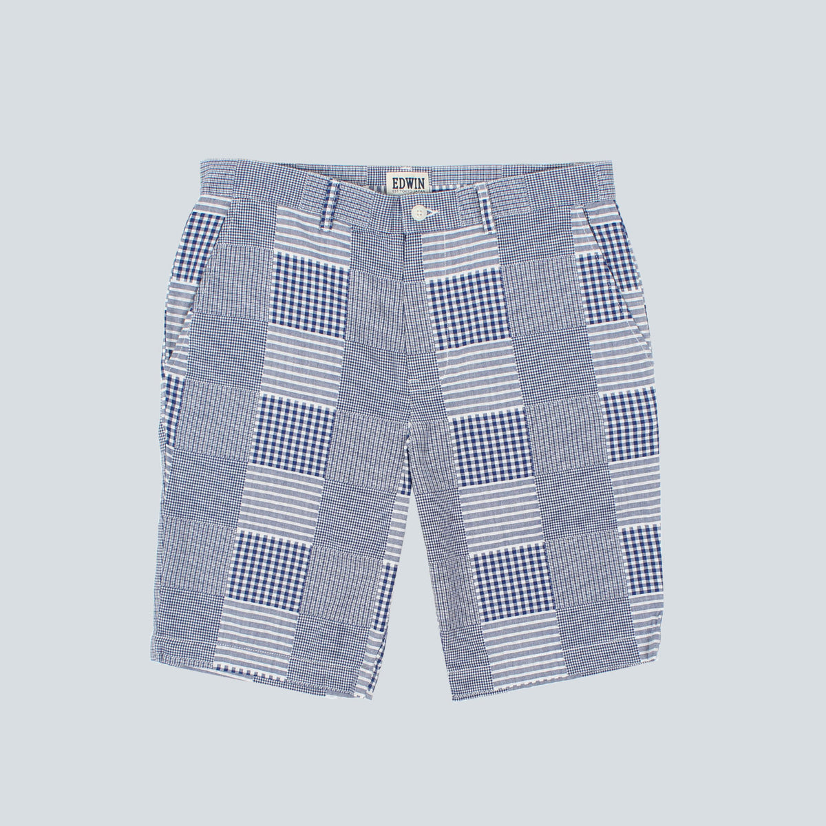 Edwin - Patchwork Boardwalk Shorts - Blue