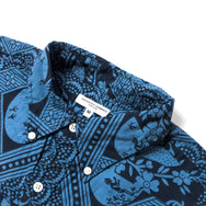 ENGINEERED GARMENTS - POPOVER BD SHIRT - BLUE/NAVY ETHNIC PRINT