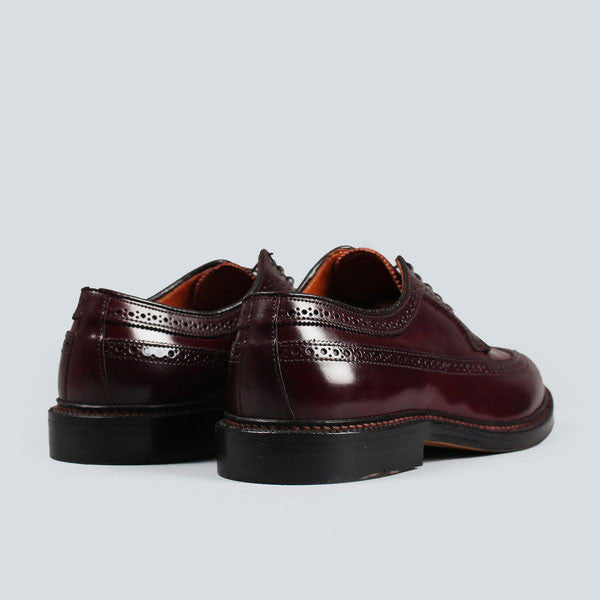 alden longwing blucher - dark burgundy cordovan, rear on view