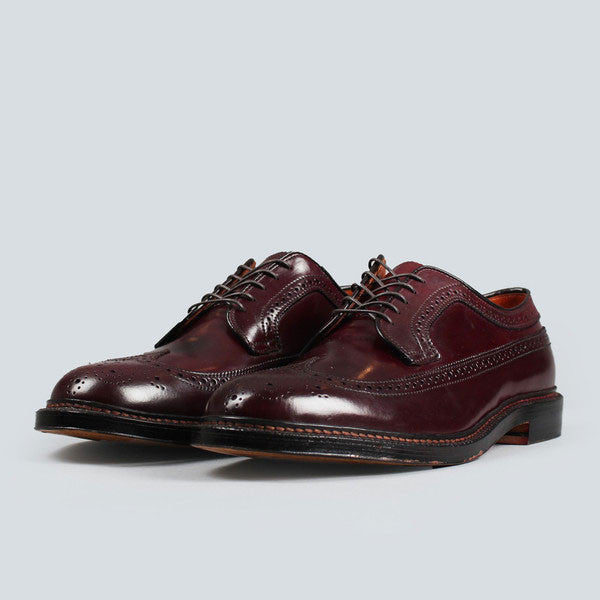 alden longwing blucher - dark burgundy cordovan, front on  view