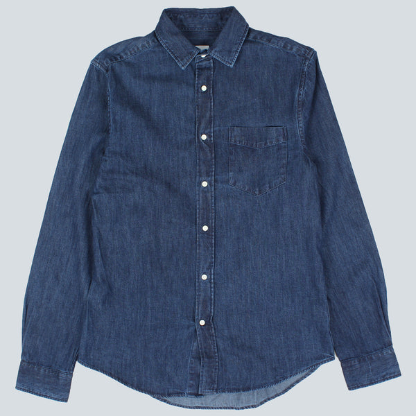 GANT RUGGER-INDIGO DENIM HOPC SHIRT-MID BLUE