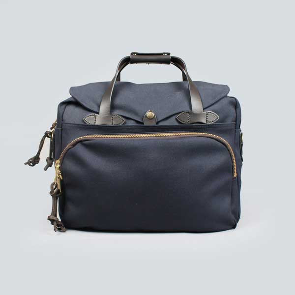 navy filson padded computer bag - front