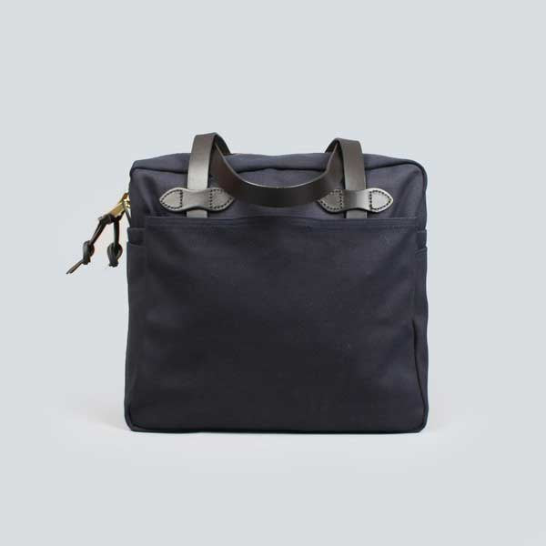 navy filson zip tote bag - side