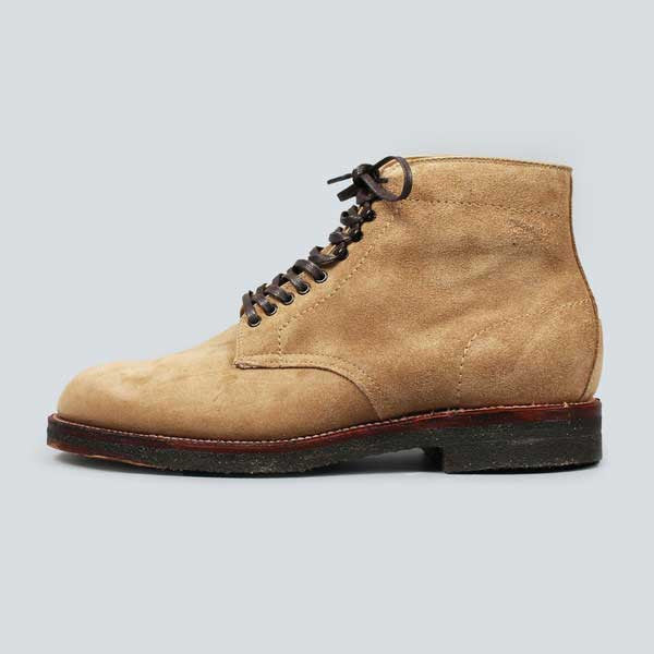 alden crepe sole plain toe boot - tan suede - outer shot