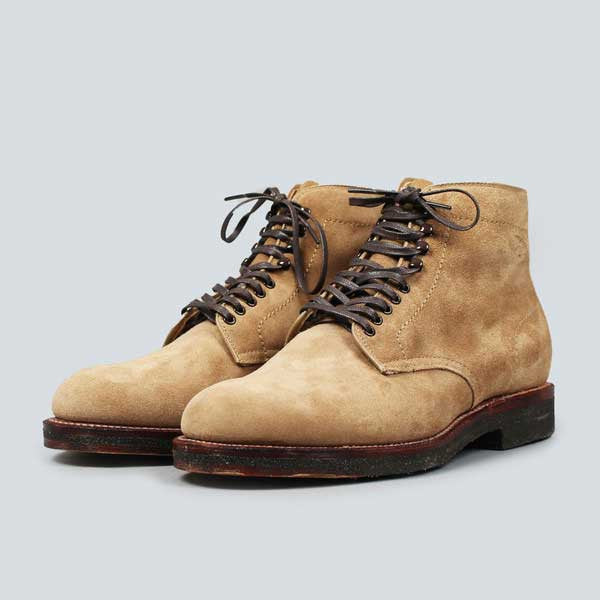 alden crepe sole plain toe boot - tan suede - front shot