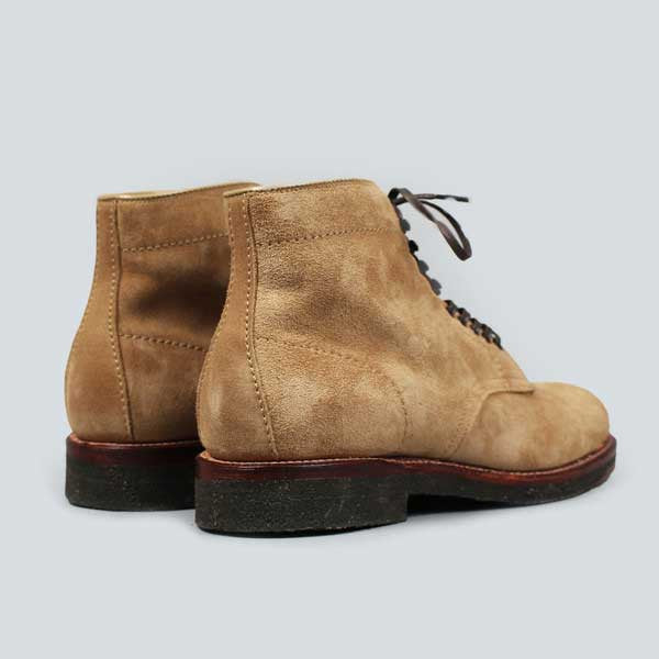 alden crepe sole plain toe boot - tan suede - rear shot