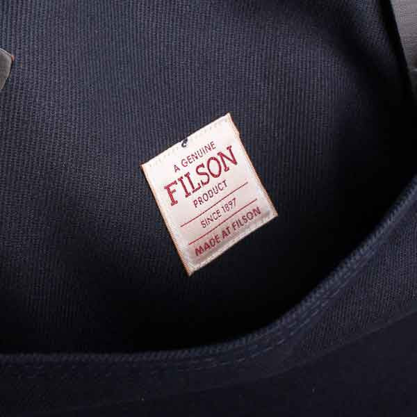 navy filson zip tote bag - label detail