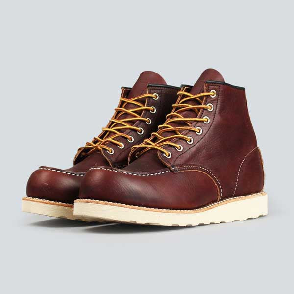 red wing moc toe, briar oil slick - front on