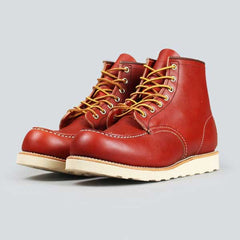red wing moc toe, ore-russet portage - front on