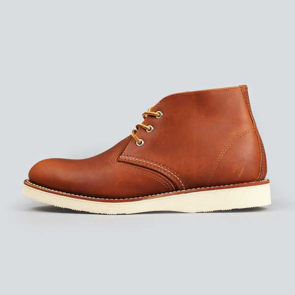 red wing heritage work chukka, copper worksmith - outer side