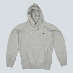 CHAMPION-HOODED SWEATSHIRT-HEATHER GREY 1