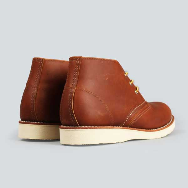 red wing heritage work chukka, copper worksmith - rear