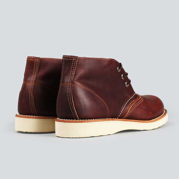 red wing heritage work chukka, briar oil slick - rear view