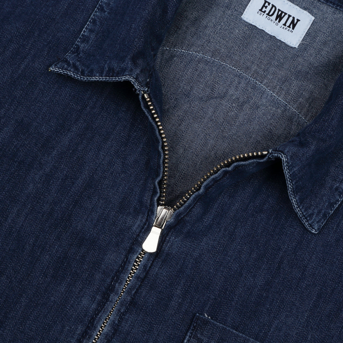 EDWIN - DEMO ZIP SHIRT - LIGHT BLUE DENIM
