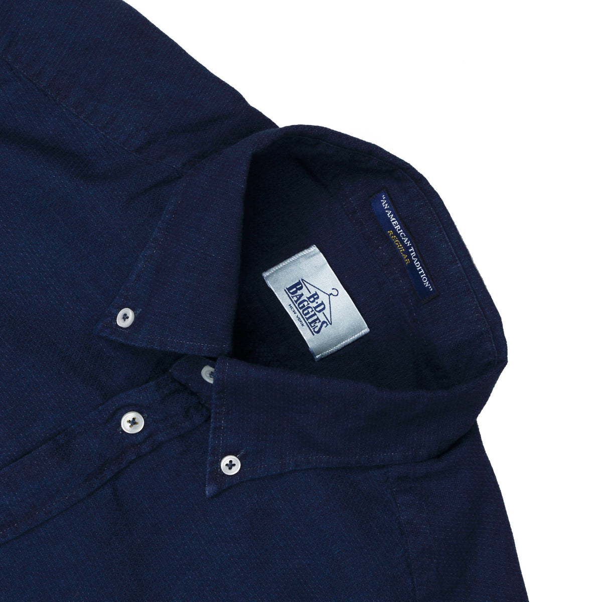 B.D. BAGGIES - BRADFORD BUTTON DOWN - NAVY TEXTURE